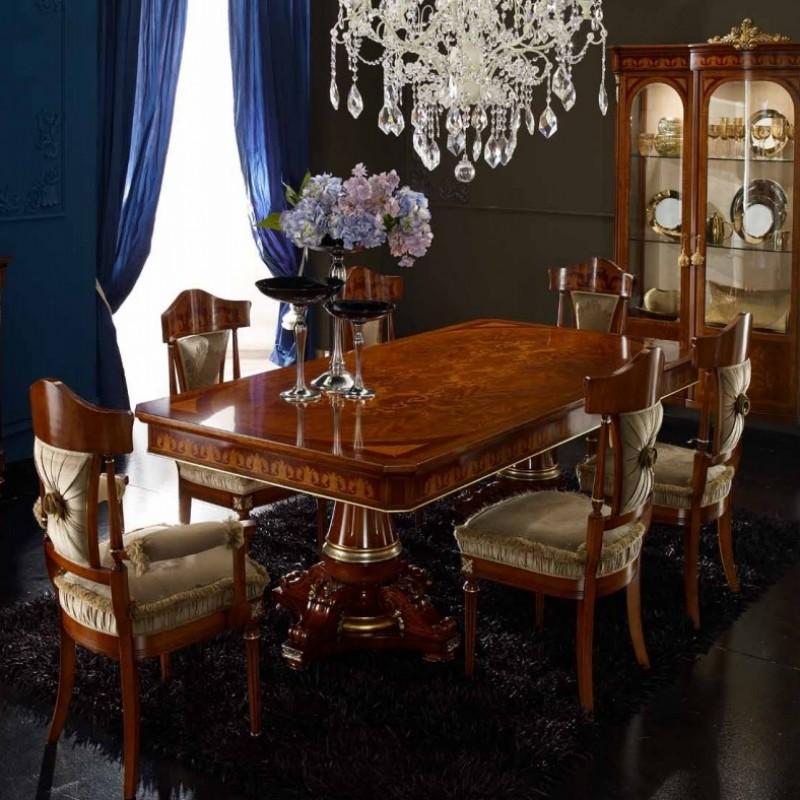 Обеденный стол с 2 вставками и стул  в ткани Agostini